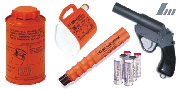 Seetnotsignalmittel, pyrotechnische Signalmittel, Rauchtopf, Leinenwurfgerät, Handfackel, Seenotsignal, Signalwaffe